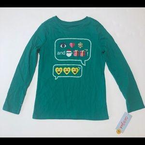 Cat & Jack Girl's Small 6/6X Christmas Emoji Shirt